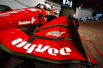 A Hy-Vee logo is seen on Graham Rahal's car during a news conference at Hy-Vee Corp. headquarters, Thursday, Aug. 19, 2021, in West Des Moines, Iowa. IndyCar will return next season to Iowa Speedway, a short oval track beloved by fans and drivers that had fallen off the schedule after 14 years. The track located in Newton will host a doubleheader next July in a deal brokered between IndyCar Series owner Roger Penske, team owner Bobby Rahal and grocery chain Hy-Vee. (AP Photo/Charlie Neibergall)
