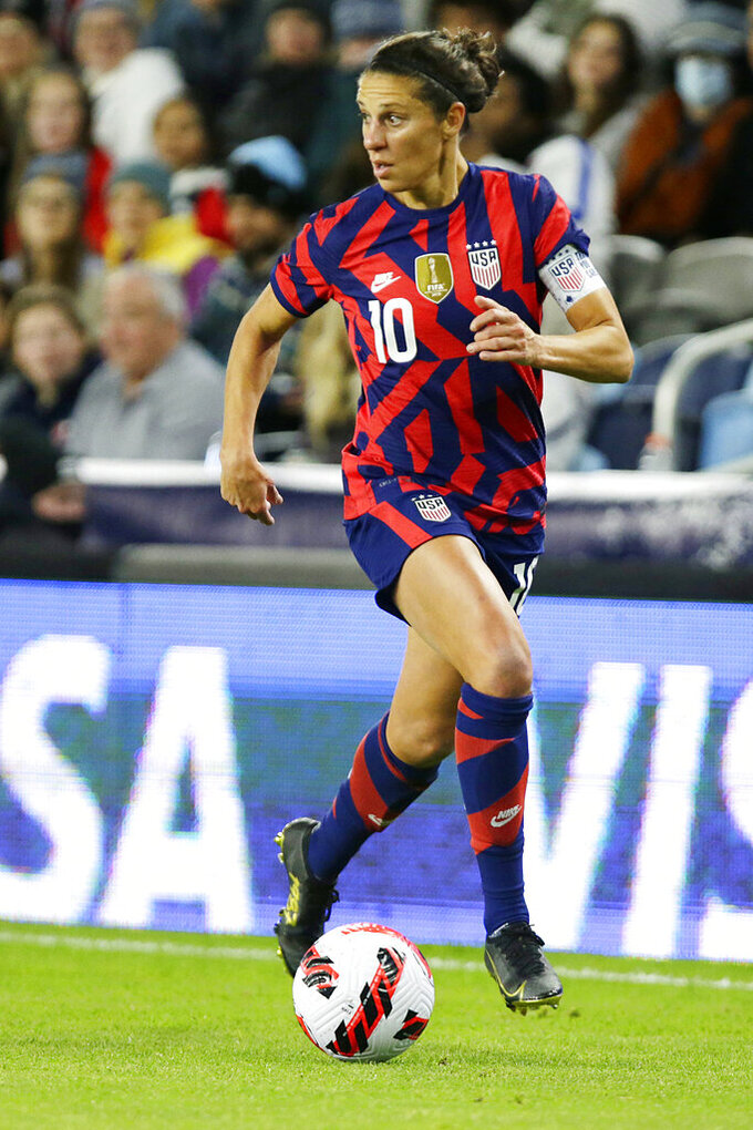 United States forward Carli Lloyd controls the ball against South Korea in the first half of a soccer friendly match against South Korea, Tuesday, Oct. 26, 2021, in St. Paul, Minn. (AP Photo/Andy Clayton-King)
