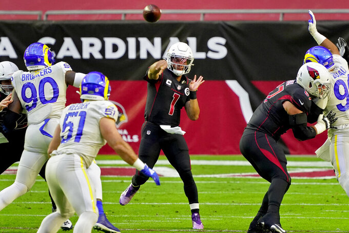 Arizona Cardinals quarterback Kyler Murray (1) throws against the Los Angeles Rams during the first half of an NFL football game, Sunday, Dec. 6, 2020, in Glendale, Ariz. (AP Photo/Rick Scuteri)