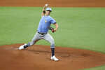 Tampa Bay Rays' Tyler Glasnow throws during baseball practice Tuesday, July 14, 2020, in St. Petersburg, Fla. (AP Photo/Mike Carlson)