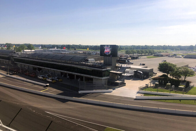 A view from turn one at Indianapolis Motor Speedway in Indianapolis, Thursday, July 2, 2020. Roger Penske has spent the six months since he bought Indianapolis Motor Speedway transforming the facility. He's spent millions on capital improvements to the 111-year-old national landmark and finally gets to showcase some of the upgrades this weekend as NASCAR and IndyCar share the venue in a historic doubleheader. (AP Photo/Jenna Fryer)
