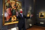 Uffizi director Eike Schmidt poses on the occasion of the Uffizi Gallery museum reopening to the public, in Florence, Italy, Tuesday, May 4, 2021. The Uffizi Gallery reopened to visitors after a shutdown following COVID-19 containment measures.  (Giuseppe Cabras/LaPresse via AP)