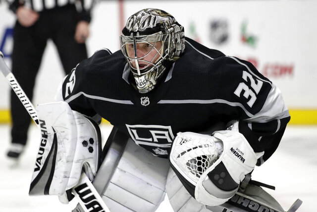 Los Angeles Kings goaltender Jonathan Quick protects the goal against the New York Rangers during the third period of an NHL hockey game Tuesday, Dec. 10, 2019, in Los Angeles. (AP Photo/Marcio Jose Sanchez)