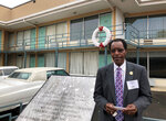 """In this Tuesday, Jan. 9, 2018 photo,  Cleophus Smith, one of the Memphis sanitation workers who went on strike for better working conditions and higher pay in 1968, stands in front of the balcony of the old Lorraine Motel where Martin Luther King Jr. was fatally shot in Memphis, Tenn. When Dr. Martin Luther King Jr. said returning hate for hate multiplies hate, adding deeper darkness to a night devoid of stars, he wasn't thinking of the world in 2018. More than a half-century later, amid contentious political fights, one of King's memorable quotes from his book """"Strength to Love"""" remains relevant.  (AP Photo-Adrian Sainz)."""