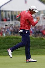 Gary Woodland celebrates after winning the U.S. Open Championship golf tournament Sunday, June 16, 2019, in Pebble Beach, Calif. (AP Photo/David J. Phillip)