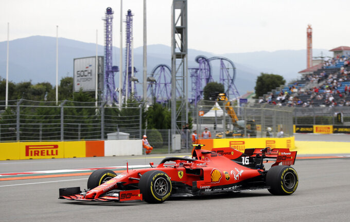 Ferrari driver Charles Leclerc of Monaco steers his car during the second free practice at the 'Sochi Autodrom' Formula One circuit, in Sochi, Russia, Friday, Sept. 27, 2019. The Formula one race will be held on Sunday. (AP Photo/Luca Bruno)