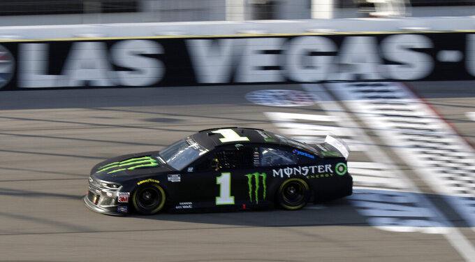 Kurt Busch drives during a NASCAR Cup Series auto race Sunday, Sept. 27, 2020, in Las Vegas. (AP Photo/Isaac Brekken)
