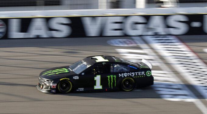 Kurt Busch drives during a NASCAR Cup Series auto race Sunday, Sept. 27, 2020, in Las Vegas. (AP Photo/Isaac Brekken)