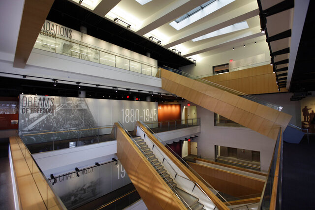 FILE - This is a Nov. 10, 2010, file photo showing the interior of The National Museum of American Jewish History in Philadelphia. The museum filed for Chapter 11 bankruptcy protection Monday morning, March 2, 2020. The museum said it owed about $30 million to bondholders and about $500,000 to unsecured creditors, according to court documents. (AP Photo/Matt Rourke, File)