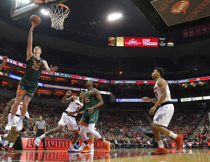 Louisville rallies to wear down Miami 90-73 in ACC play