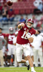 Alabama quarterback Mac Jones (10) throws a touchdown pass to wide receiver John Metchie III during an NCAA college football game against Kentucky on Saturday, Nov. 21, 2020, in Tuscaloosa, Ala. (Mickey Welsh/The Montgomery Advertiser via AP)