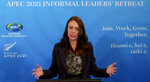 In this image from video, New Zealand Prime Minister Jacinda Ardern, APEC 2021 chair, speaks during a news conference in Wellington, New Zealand, on Saturday, July 17, 2021, about the Informal Leaders' Retreat virtual conference.  (APEC2021 via AP)