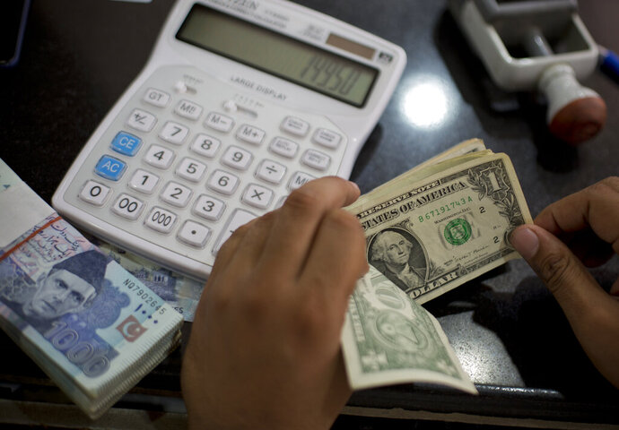 FILE - In this May 17, 2019, file photo US dollars are counted at a currency exchange in Islamabad, Pakistan. The global economy is slowing, largely because of the U.S. trade war with China, according to the 189-member International Monetary Fund. (AP Photo/B.K. Bangash, File)