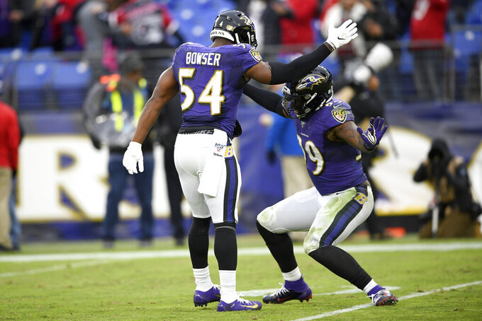 Baltimore Ravens linebacker Tyus Bowser (54) and outside linebacker Matt Judon (99) celebrate after a play against the Houston Texans during the second half of an NFL football game, Sunday, Nov. 17, 2019, in Baltimore. The Ravens won 41-7. (AP Photo/Nick Wass)