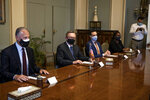 U.S. Special Envoy for the Horn of Africa Jeffrey Feltman, center, and his delegation meet with Egyptian Foreign Minister Sameh Shoukry at the foreign ministry in Cairo, Egypt, Wednesday, May 5, 2021. (AP Photo/Nariman El-Mofty)