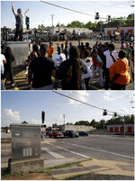 This combination of photos shows a man trying to calm a group of protesters as police stand in the distance on Aug. 13, 2014, top, and the same location, the corner of West Florissant Avenue and Canfield Drive, on July 24, 2019, in Ferguson, Mo. (AP Photo/Jeff Roberson)