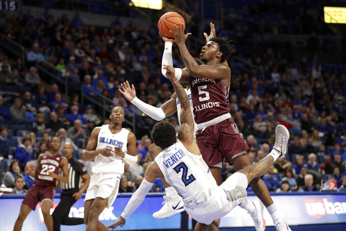Southern Illinois' Lance Jones (5) heads to the basket as Saint Louis' Tay Weaver (2) defends during the first half of an NCAA college basketball game Sunday, Dec. 1, 2019, in St. Louis. (AP Photo/Jeff Roberson)