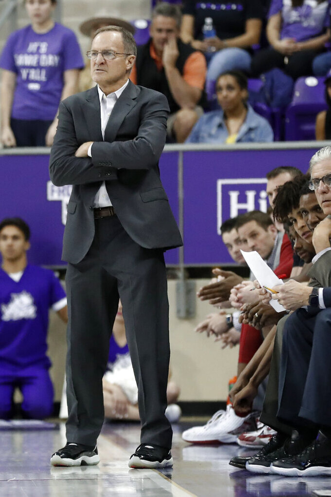 Oklahoma head coach Lon Kruger watches play against TCU in the second half of an NCAA college basketball game in Fort Worth, Texas, Saturday, March 7, 2020. (AP Photo/Tony Gutierrez)