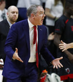 Rutgers head coach Steve Pikiell reacts after a call during the first half of the team's NCAA college basketball game against Michigan State, Wednesday, Feb. 20, 2019, in East Lansing, Mich. (AP Photo/Carlos Osorio)