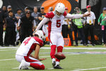 Arizona Cardinals kicker Zane Gonzalez (5) boots the winning field goal in the second half of an NFL football game against the Cincinnati Bengals, Sunday, Oct. 6, 2019, in Cincinnati. (AP Photo/Gary Landers)