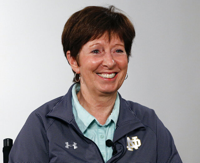 FILE - Notre Dame coach Muffet McGraw answers a question during the Atlantic Coast Conference women's NCAA college basketball media day in Charlotte, N.C., in this Oct. 3, 2019, file photo. Muffet McGraw has kept busy since retiring last spring from coaching Notre Dame. From teaching a sports business leadership class at the university to helping on Election Day as a poll worker, the Hall of Famer women's basketball coach has stayed active. Now she's ready to add a new job to her list, serving as a studio analyst for the ACC Network.(AP Photo/Nell Redmond, File)