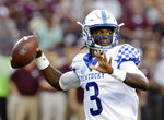 Kentucky quarterback Terry Wilson (3) passes the ball during the first half of an NCAA college football game against Texas A&M Saturday, Oct. 6, 2018, in College Station, Texas. (AP Photo/Michael Wyke)
