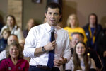 Democratic presidential candidate former South Bend, Ind., Mayor Pete speaks at a campaign stop at the Carrollton Inn, Saturday, Jan. 25, 2020, in Carroll, Iowa. (AP Photo/Andrew Harnik)