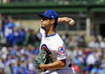 Chicago Cubs starting pitcher Yu Darvish, of Japan, throws against the Arizona Diamondbacks during the first inning of a baseball game Saturday, April 20, 2019, in Chicago. (AP Photo/Nam Y. Huh)