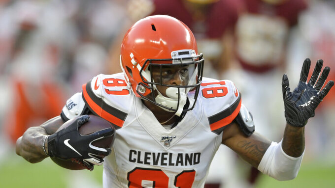 Cleveland Browns wide receiver Rashard Higgins rushes during the first half of the team's NFL preseason football game against the Washington Redskins, Thursday, Aug. 8, 2019, in Cleveland. (AP Photo/David Richard)