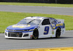 Chase Elliott drives through turn 3 during the NASCAR Cup Series auto race at Daytona International Speedway, Sunday, Aug. 16, 2020, in Daytona Beach, Fla. (AP Photo/Terry Renna)