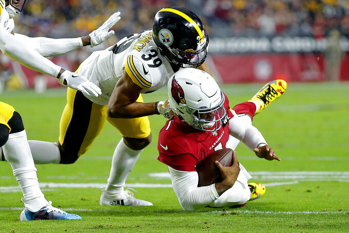 Arizona Cardinals quarterback Kyler Murray (1) is tackled by Pittsburgh Steelers free safety Minkah Fitzpatrick (39) during the first half of an NFL football game, Sunday, Dec. 8, 2019, in Glendale, Ariz. (AP Photo/Rick Scuteri)