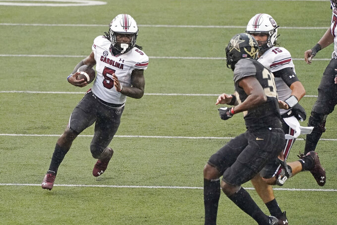 South Carolina wide receiver Dakereon Joyner (5) runs 47 yards for a touchdown against Vanderbilt in the second half of an NCAA college football game Saturday, Oct. 10, 2020, in Nashville, Tenn. South Carolina won 41-7. (AP Photo/Mark Humphrey)