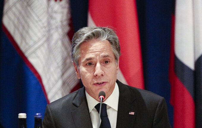 US Secretary of State Antony Blinken meets with Foreign Ministers of the ASEAN Nations on Thursday, Sept. 23, 2021, on the sidelines of the U.N. General Assembly at United Nations headquarters in New York, (Kena Betancur/Pool Photo via AP)