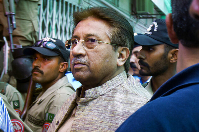FILE - In this April 20, 2013, file photo, Pakistan's former President and military ruler Pervez Musharraf arrives at an anti-terrorism court in Islamabad, Pakistan. A Pakistani court sentenced the country's former military ruler to death in a treason case relating to the imposition of a state of emergency by him in 2007 when he was in power. Musharraf who is apparently sick and receiving treatment in Dubai where he lives was not present in the courtroom when judges announced ruling on Tuesday, Dec. 17, 2019. (AP Photo/Anjum Naveed, File)
