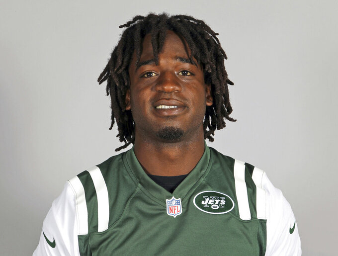 FILE - This 2013 file photo shows New York Jets running back Joe McKnight. An appeals court granted a Louisiana man a new trial because he was convicted by a split jury of fatally shooting McKnight during a road rage incident. Ronald Glasser's 30-year sentence and manslaughter conviction were vacated Wednesday, July 15, 2020, by the Louisiana 5th Circuit Court of Appeal, news outlets reported.  (AP Photo/File)