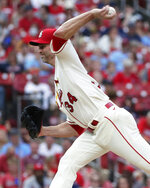 St. Louis Cardinals starting pitcher J.A. Happ (34) delivers in the second inning of a baseball game against the Pittsburgh Pirates, Saturday, Aug. 21, 2021, in St. Louis. (AP Photo/Tom Gannam)
