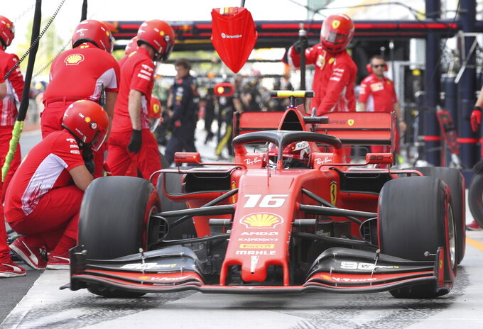 Ferrari driver Charles Leclerc of Monaco heads back out after a pit stop during the second practice session at the Formula One Canadian Grand Prix auto race, Friday, June 7, 2019, in Montreal. (Tom Boland/The Canadian Press via AP)