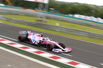Racing Point driver Lance Stroll of Canada steers his car during the qualifying session for the Hungarian Formula One Grand Prix at the Hungaroring racetrack in Mogyorod, Hungary, Saturday, July 18, 2020. The Hungarian F1 Grand Prix will be held on Sunday. (Darko Bandic/Pool)