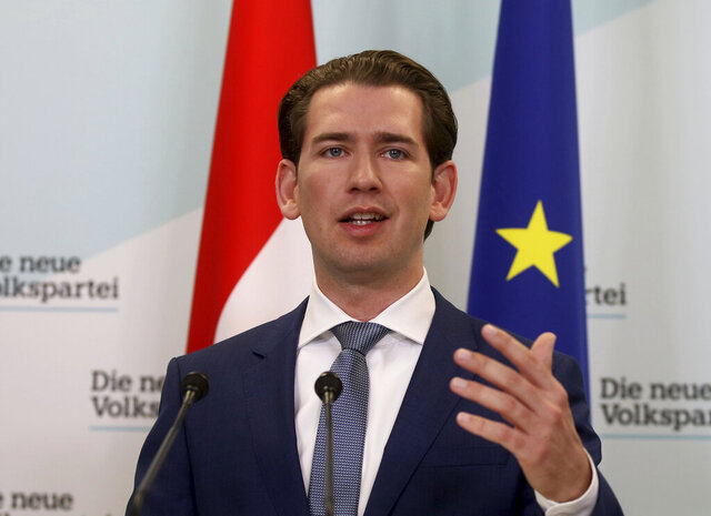 In this Monday, Nov. 11, 2019 file photo, Sebastian Kurz head of the Austrian People's Party, OEVP, speaks to journalists during a press conference about the beginning of the coalition negotiations with the Austrian Greens in Vienna, Austria. Austrian People's Party, OEVP and the environmentalist Greens appear to be closing in on a coalition deal that would return ex-Chancellor Sebastian Kurz to power and end the reign of a non-partisan interim government. (AP Photo/Ronald Zak, file)