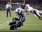 Vanderbilt wide receiver Kalija Lipscomb (16) catches the winning touchdown pass ahead of Mississippi defensive back Keidron Smith in overtime of an NCAA college football game Saturday, Nov. 17, 2018, in Nashville, Tenn. Vanderbilt won 36-29. (AP Photo/Mark Humphrey)