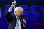 Democratic presidential candidate Sen.Bernie Sanders, I-Vt., waves during a presidential forum at the California Democratic Party's convention Saturday, Nov. 16, 2019, in Long Beach, Calif. (AP Photo/Chris Carlson)