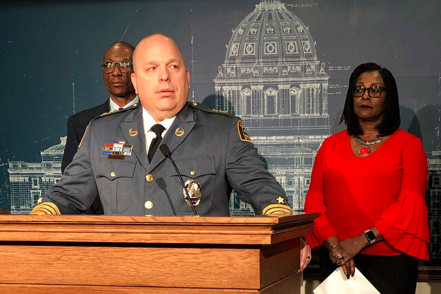 St. Paul Police Chief Todd Axtell speaks at a news conference with lawmakers at the state Capitol in St. Paul, Minn., on Thursday, Feb. 20, 2020, in support of an amendment to to remove a clause allowing slavery and involuntary servitude as punishment for crimes from the state Constitution. Axtell, who had been bothered by the language for some time, made it his new year's resolution to get it deleted. (AP Photo/Steve Karnowski)