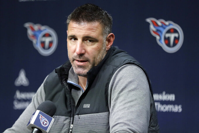FILE - In this Jan. 20, 2020, file photo, Tennessee Titans head coach Mike Vrabel answers a question during an NFL football news conference in Nashville, Tenn. The Tennessee Titans have placed their top draft pick, offensive lineman Isaiah Wilson, on the COVID-19/reserve list. The former Georgia star remains the one member of their six-man draft class that has yet to agree to a contract.  (AP Photo/Mark Humphrey, File)