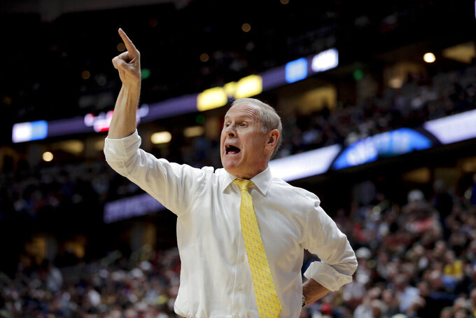 Michigan coach John Beilein shouts during the first half the team's NCAA men's college basketball tournament West Region semifinal against Texas Tech on Thursday, March 28, 2019, in Anaheim, Calif. (AP Photo/Jae C. Hong)