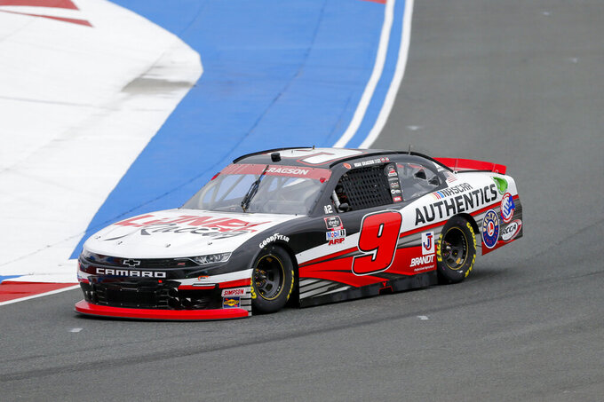 Noah Gragson races through Turn 4 during a NASCAR Xfinity Series auto race at Charlotte Motor Speedway in Concord, N.C., Saturday, Oct. 10, 2020. (AP Photo/Nell Redmond)
