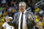 Iowa head coach Fran McCaffery reacts to a call in the first half of an NCAA college basketball game against Michigan in Ann Arbor, Mich., Friday, Dec. 6, 2019. (AP Photo/Paul Sancya)
