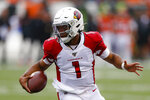 Arizona Cardinals quarterback Kyler Murray runs the ball in the first half of an NFL football game against the Cincinnati Bengals, Sunday, Oct. 6, 2019, in Cincinnati. (AP Photo/Gary Landers)