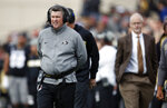 FILE - In this Saturday, Nov. 10, 2018, file photo, Colorado head coach Mike MacIntyre watches during the second half of an NCAA college football game against Washington State in Boulder, Colo. The Buffaloes have followed up that 5-0 start with five straight losses and now are simply trying to become bowl eligible amid reports suggesting MacIntyre's job is in jeopardy. (AP Photo/David Zalubowski, File)