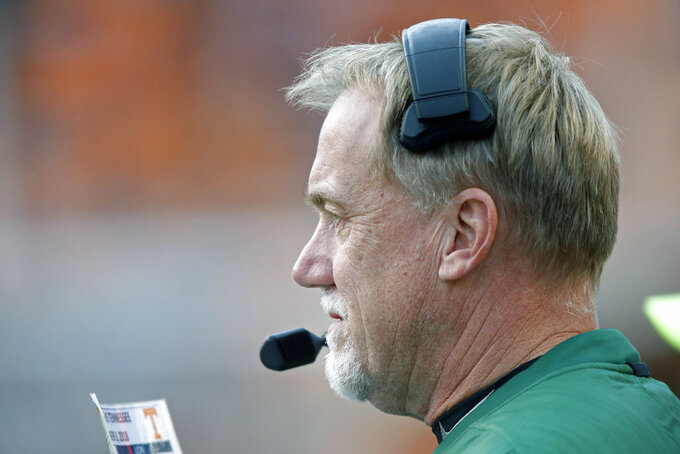 Charlotte head coach Brad Lambert looks on in the second half of an NCAA college football game against Tennessee Saturday, Nov. 3, 2018, in Knoxville, Tenn. Tennessee won 14-3. (AP Photo/Wade Payne)