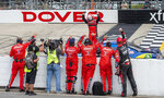 Justin Allgaier (7) wins the NASCAR Xfinity Series race at Dover International Speedway, Saturday, Aug. 22, 2020, in Dover, Del. (AP Photo/Jason Minto)